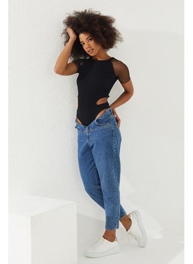 Reyon REYON Kadın Kolları Tüllü Çıtçıtlı Bluz Siyah Siyah